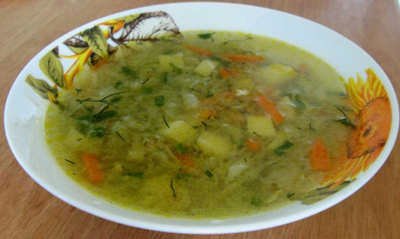 Грибной суп с капустой на мясном бульоне
