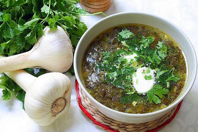 Рецепт зеленого борща с мясом и щавелем