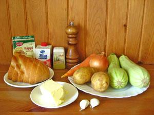 Составляющие супа-пюре из кабачков