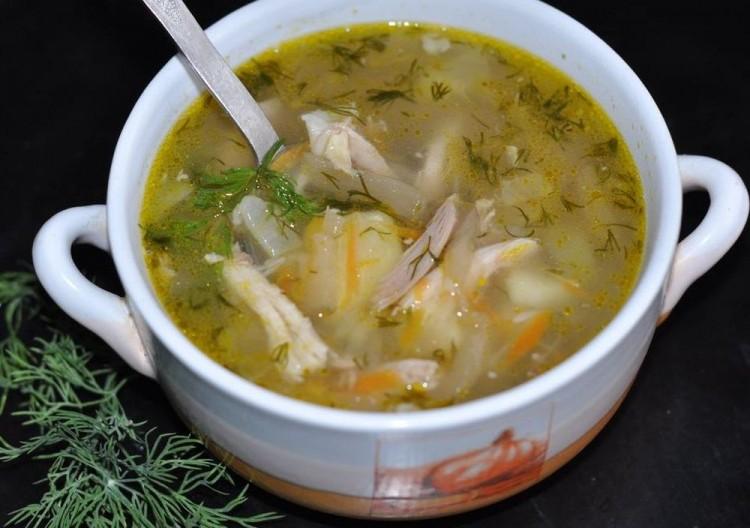 Вкусный суп с куриными сердечками