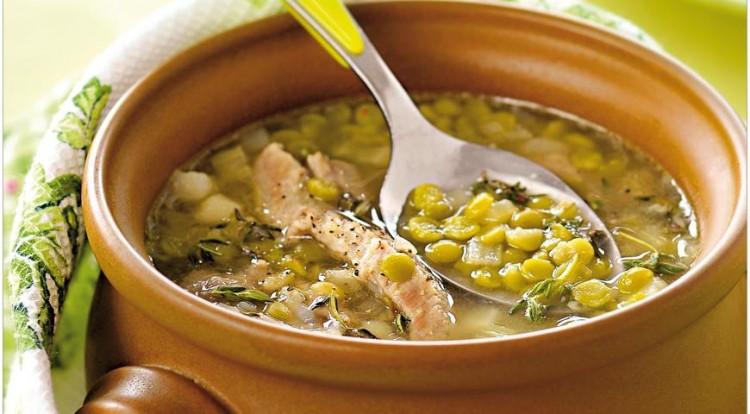Вкусный гороховый суп со свиной рулькой
