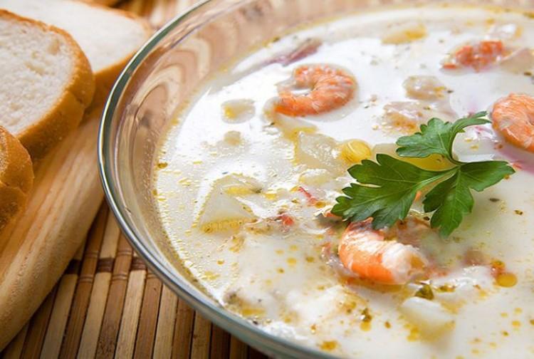 Вкусный крем-суп с морепродуктами