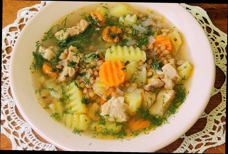 мясной суп с чечевицей