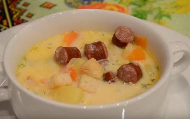 Сырный суп с копченой колбасой рецепт пошагово
