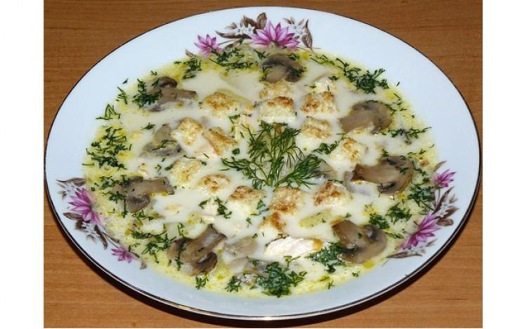 Вкусный сырный супчик с грибочками