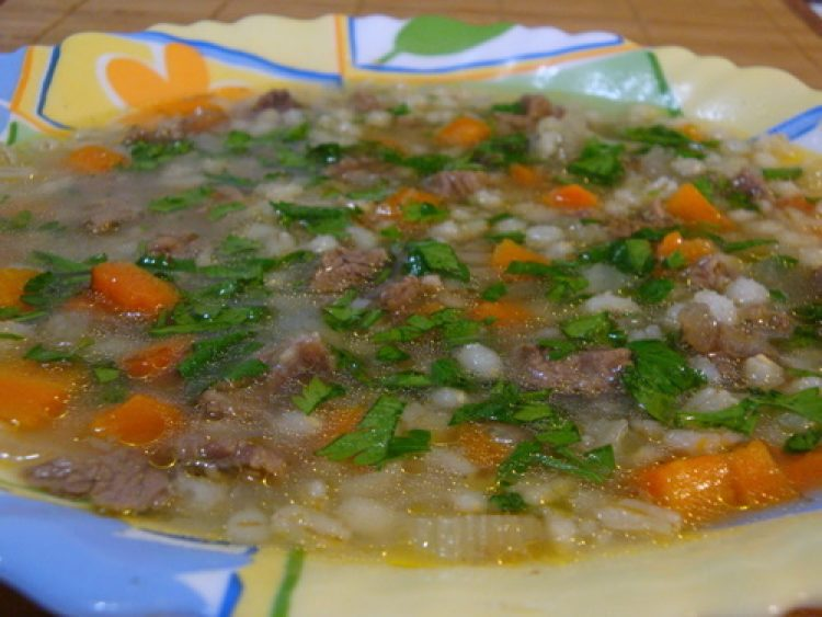 Суп с перловкой и бараниной