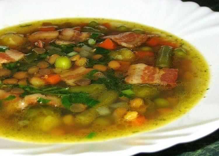 Вкусный суп с копчёностями