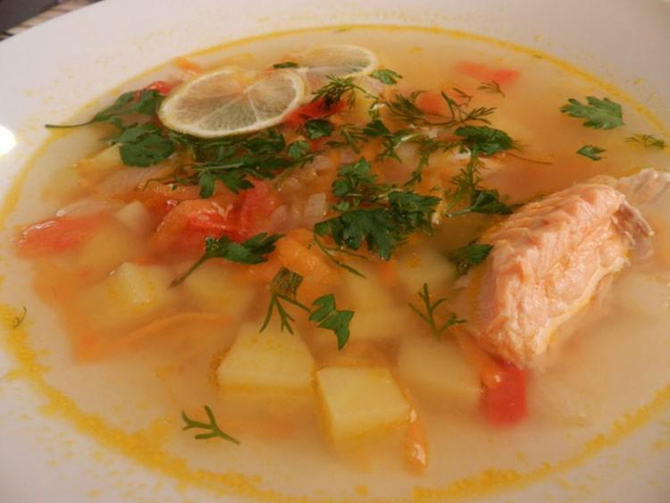 Вкусный суп с сёмгой