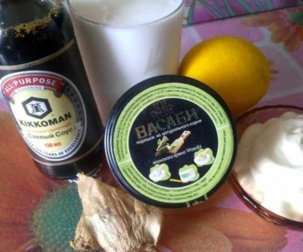 Ингредиенты к соусу вассаби