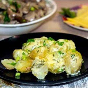 Картофель в чесночном соусе