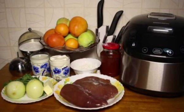 Ингредиенты к печени в мультиварке